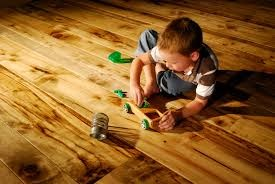 wood and laminate flooring with children