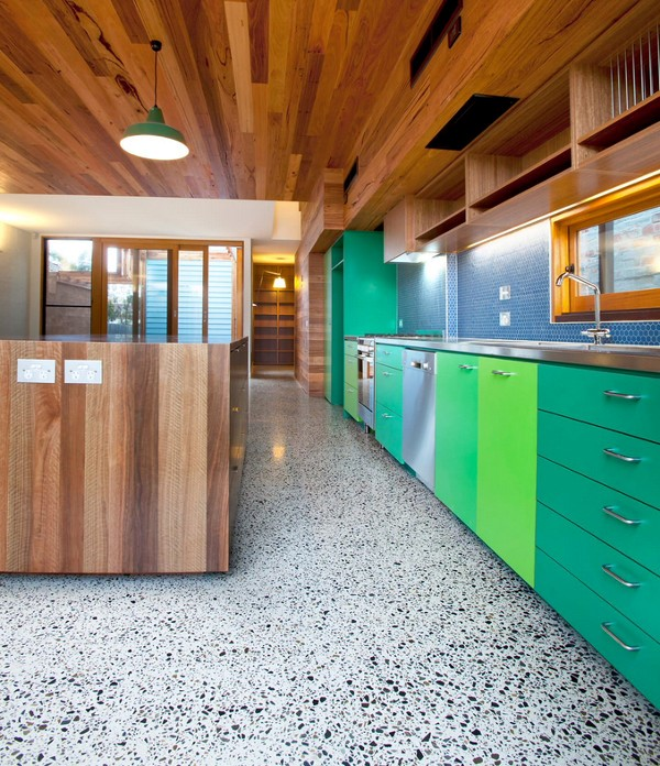 trendy colourful kitchen floor